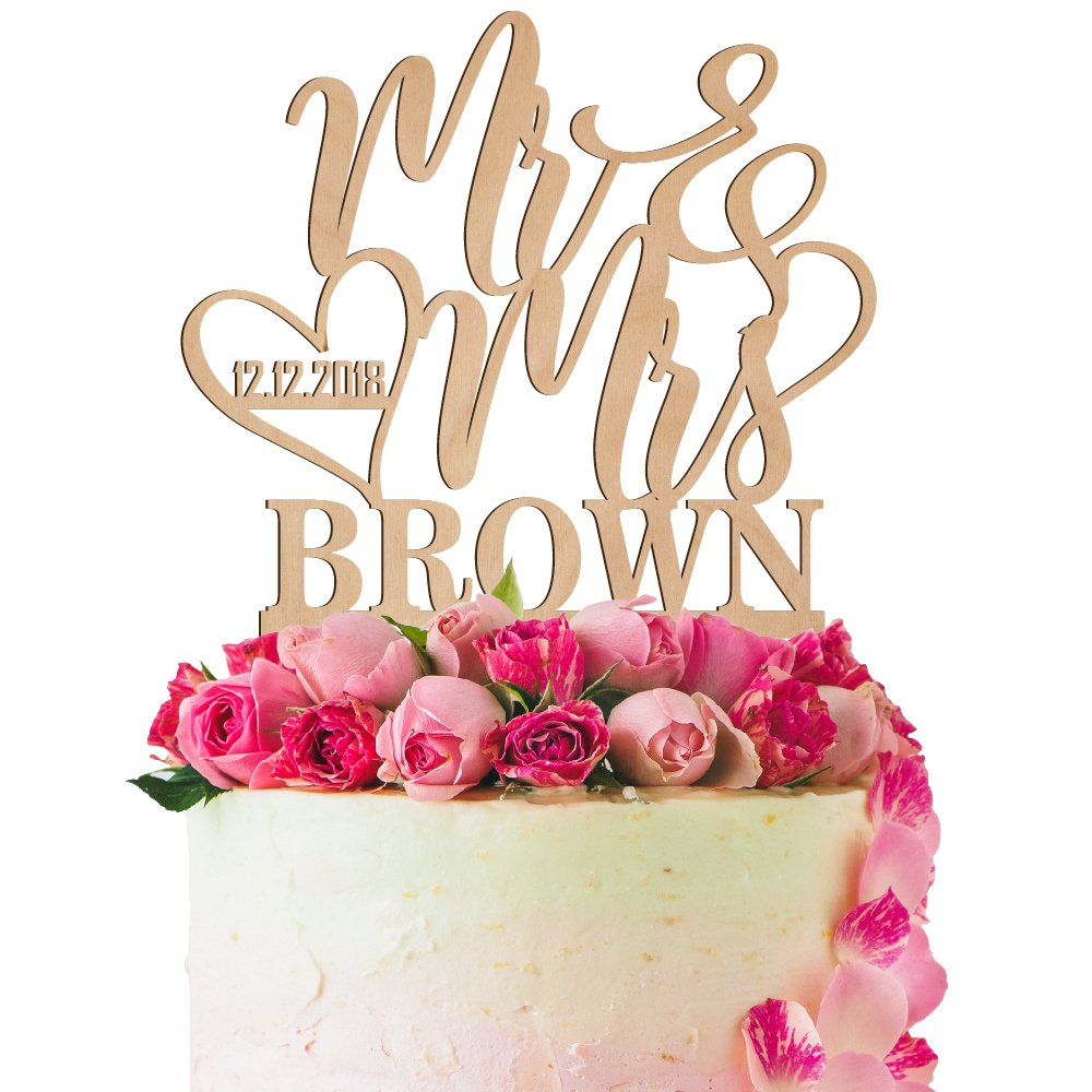 Personalized Wedding Cake Toppers Mr Mrs Cake Topper W Wedding Date Custom Acrylic Cake Decorations Personalized Cake Topper For Bride Groom 4 Color Types W 21 Colors 1 3 Wood Options Buy