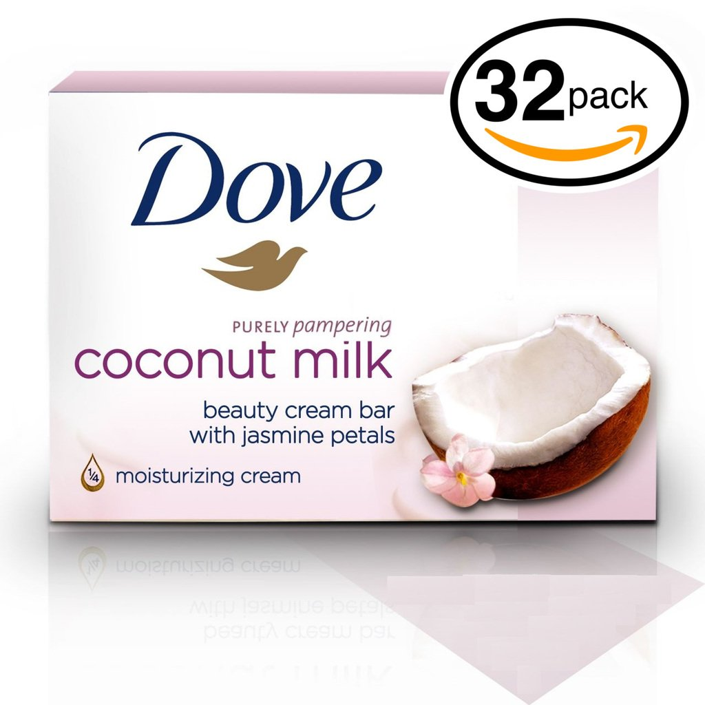(PACK OF 32 BARS) Dove Beauty Soap Bar: COCONUT MILK. Protects Your Skin's Natural Moisture. 25% MOISTURIZING LOTION & CREAM! Great for Hands, Face & Body! (32 Bars, 3.5oz Each Bar)