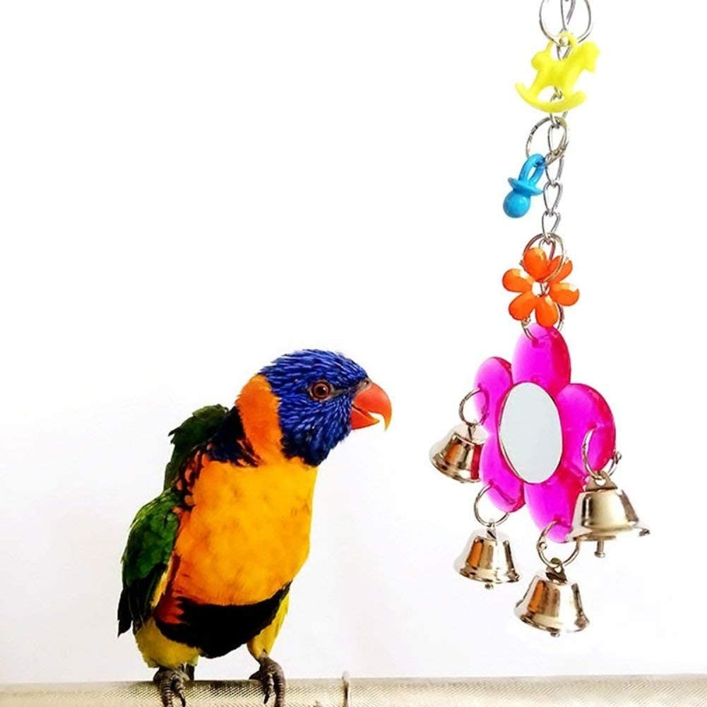 Random Color Stylish and Popular Ogquaton Multi Color Parrot Chew Bell Flower Mirror Swing Parakeet Birds Hanging Play Toy
