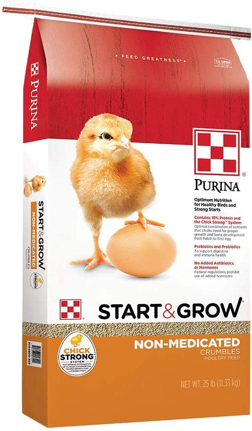 Purina Start and Grow | Non-Medicated Chick Feed Crumbles | Nutritionally Complete - 25 Pound (25 lb.) Bag