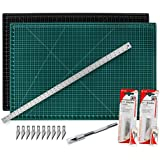 """Cutting Mat with Craft Knife & Ruler Set - Professional 18X12 Self Healing Double Sided Rotary Mat Precision Hobby Knife with 10 Easy Replacement Blades and 18"""" Steel Corked Backed Ruler"""