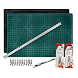 "Cutting Mat with Craft Knife & Ruler Set - Professional 12X9 Self Healing Double Sided Rotary Mat Precision Hobby Knife with 10 Easy Replacement Blades and 12"" Steel Corked Backed Ruler"