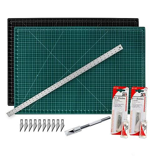 "Cutting Mat with Craft Knife amp Ruler Set  Professional 18X12 Self Healing Double Sided Rotary Mat Precision Hobby Knife with 10 Easy Replacement Blades and 18"" Steel Corked Backed Ruler"