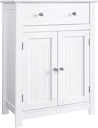 VASAGLE Free Standing Bathroom Cabinet with Drawer and Adjustable Shelf, Kitchen Cupboard, Wooden Entryway Storage Cabinet, 23.6 x 11.8 x 31.5 Inches, White