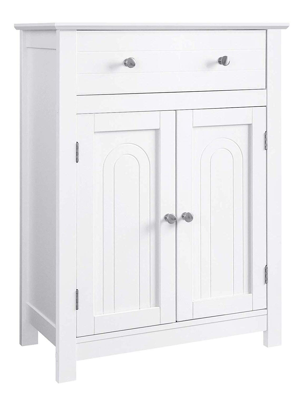 VASAGLE Free Standing Bathroom Cabinet with Drawer and Adjustable Shelf, Kitchen Cupboard, Wooden Entryway Storage Cabinet White, 23.6 x 11.8 x 31.5 Inches by VASAGLE