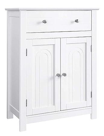 Amazon.com: VASAGLE - Armario de baño con cajón y estante ...