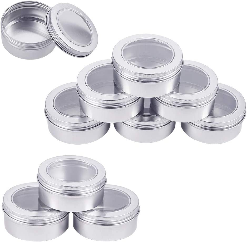 BENECREAT 10 Pack 5 OZ Tin Cans Screw Top Round Aluminum Cans Screw Lid Containers with Clear Window - Great for Store Spices, Candies, Tea or Gift Giving (Platinum)