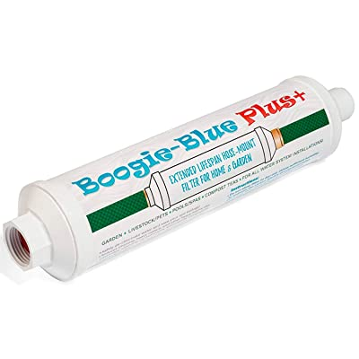Garden Hose Water Filter for RV and Outdoor use - Removes Chlorine, Chloramines, VOCs, Pesticides/Herbicides Boogie Blue Plus High Capacity Filter - The Organic Gardener's Choice : Garden & Outdoor