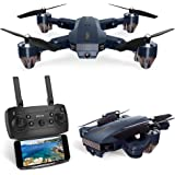 Kuorle Foldable Drone with Camera, WiFi FPV Quadcopter with 720P Wide Angle HD Camera Live Video Mobile APP Control RC Helicopter for Kids-Altitude Hold,One Key Start,Bonus Battery