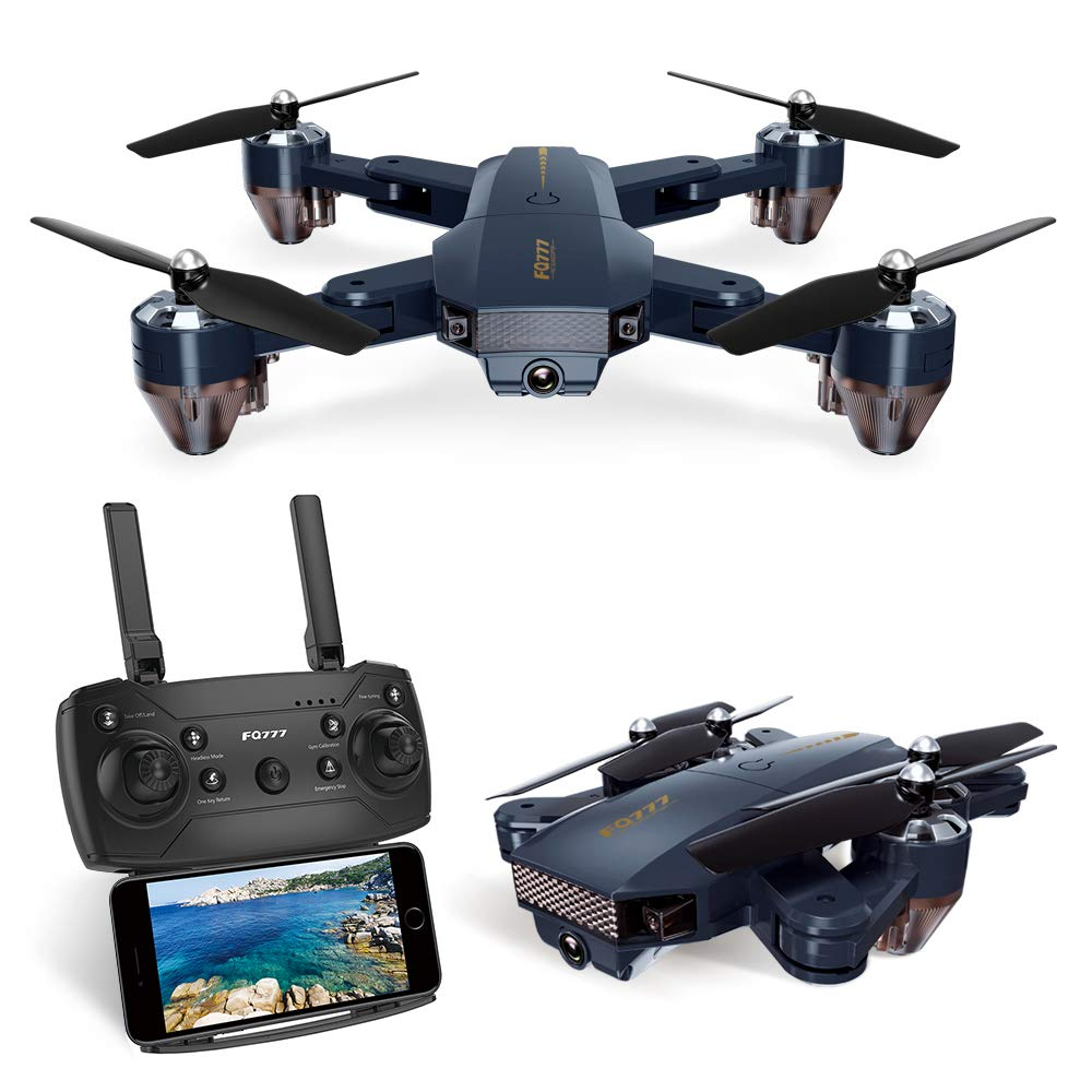 Navy bluee Kuorle Foldable Drone with Camera, WiFi FPV Quadcopter with 720P Wide Angle HD Camera Live Video Mobile APP Control RC Helicopter for KidsAltitude Hold,One Key Start,Bonus Battery