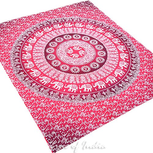 Eyes of India - Large Queen Red Burgundy Ombre Mandala Elephant Tapestry Bedspread Beach Indian Bohemian Boho