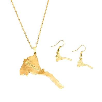 Amazon eritrea map pendants necklace women map of eritrea 24k eritrea map pendants necklace women map of eritrea 24k gold jewelry african necklace ethiopia eritrea aloadofball Images