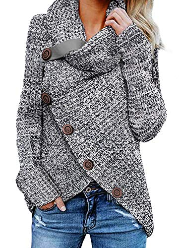 Cotton Cardigan Sweater - Asvivid Womens Button Turtle Cowl Neck Long Sleeve Asymmetric Wrap Comfy Cardigans Sweaters Fall Plus Size 1X Grey