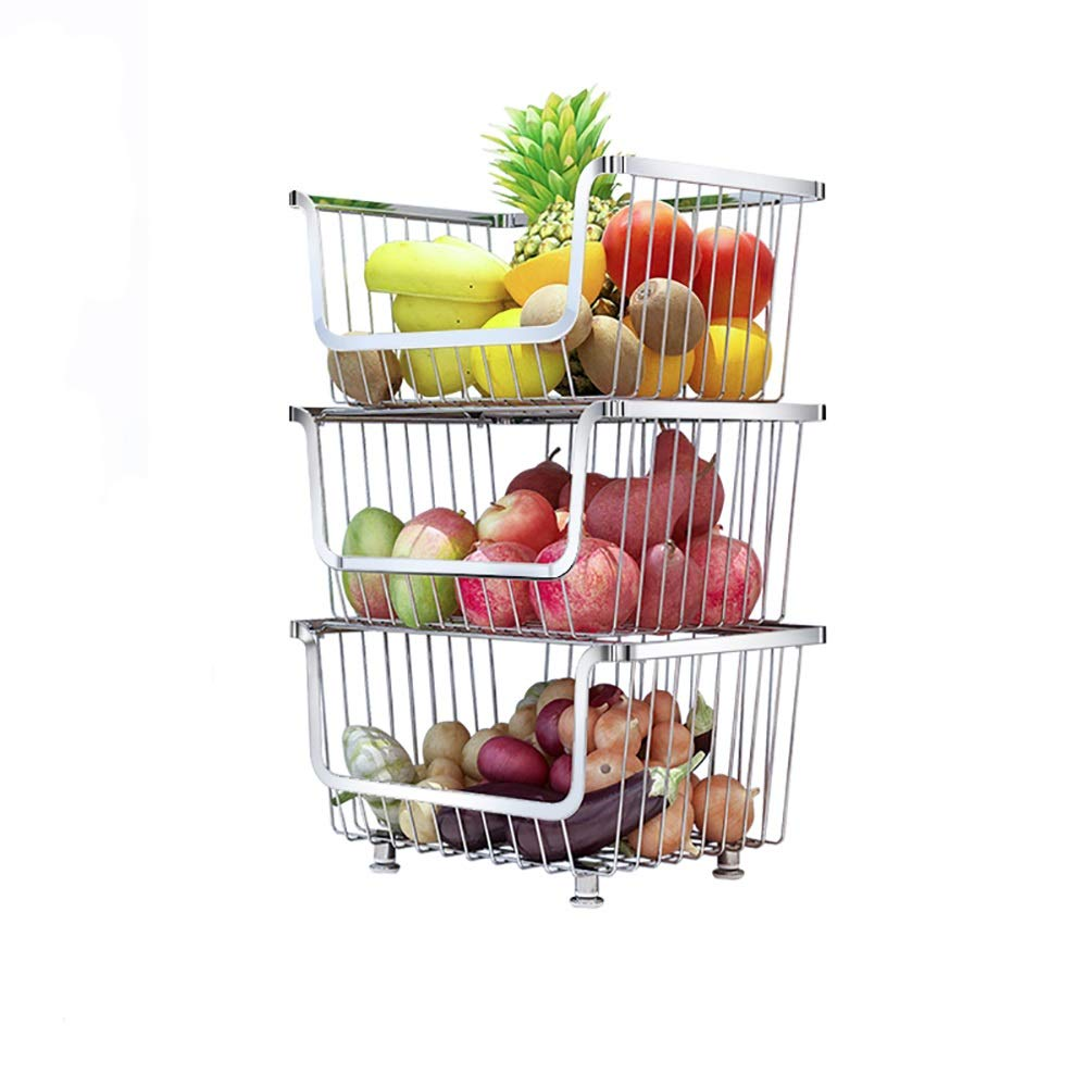 Detachable rolling metal making storage rack/kitchen sideboard assembly box pulley, with armrests, convenient, large space frame. (Size : Layer 3)