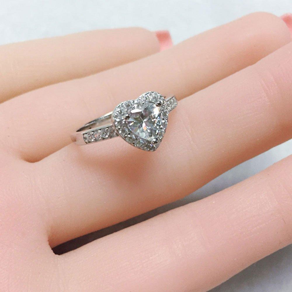 Amazon.com: MABELLA Sterling Silver Jewelry 1.90 CT Halo Heart ...