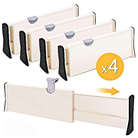 Like-very - Juego de 4 separadores de cajón Ajustables - Organizador para Dormitorio, Cuarto de baño, Armario, cajón de bebé, Escritorio, Estante de ...