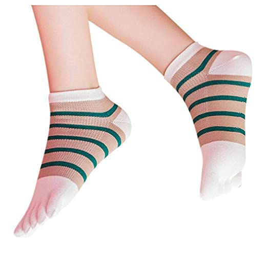 Women Toe Socks Inkach Stylish Girls Cotton Five Finger Socks Breathable Running Socks Lightweight Sports Trainer Socks
