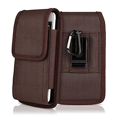 iPhone 7 6S 6 Plus Holster,PLUS SIZE Belt Clip Case Vertical/Horizontal Universal Oxford Canvas Pouch Case with Belt Loop Clip for Samsung Galaxy S8 Plus Galaxy NOTE 5 / NOTE 4 / NOTE - Brown Phone