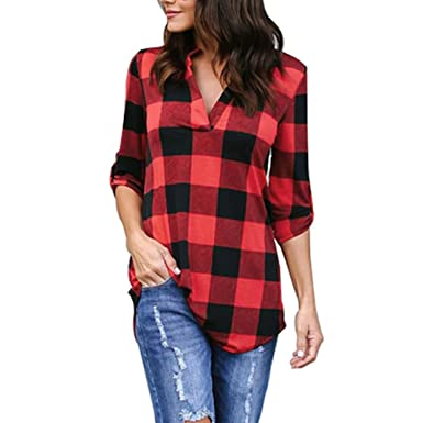 435e97a00 Kangma Women Spring 3/4 Sleeve V-Neck Plaid Office Work Collared Top ...