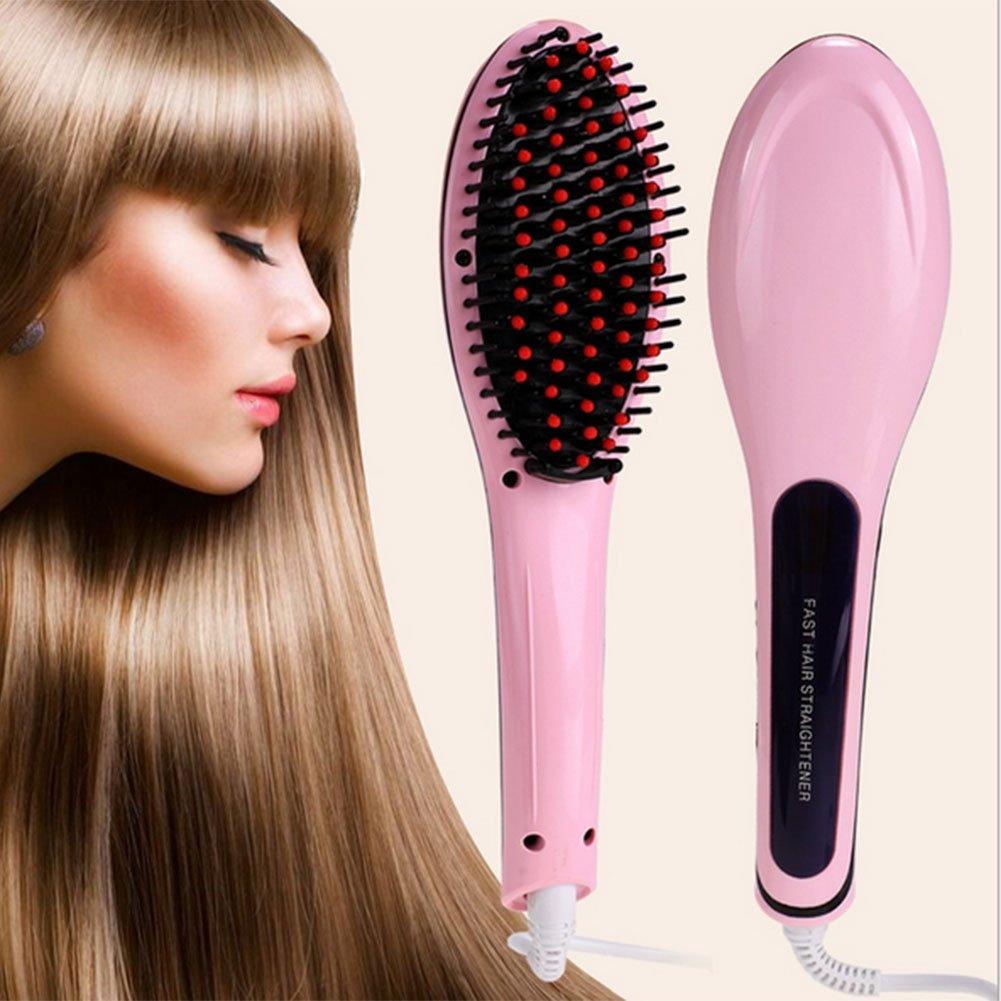 Caliente profesional automático con purpurina peine de hierro con pantalla LCD eléctrico suave pelo peine cabello: Amazon.es: Salud y cuidado personal