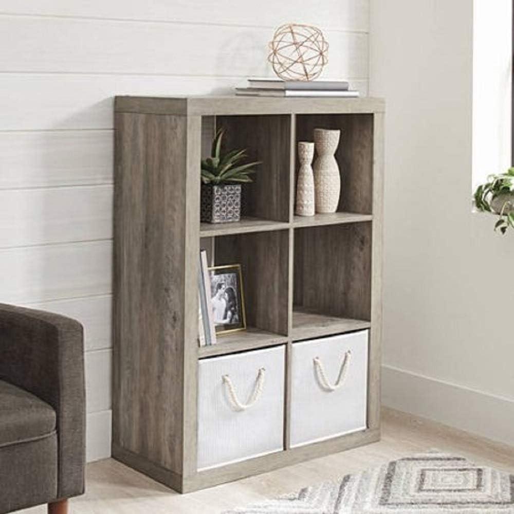 Better Homes and Gardens 4-Cube Organizer Storage Bookcase Bookshelf (4, White) (Rustic Gray, 6 Cube)