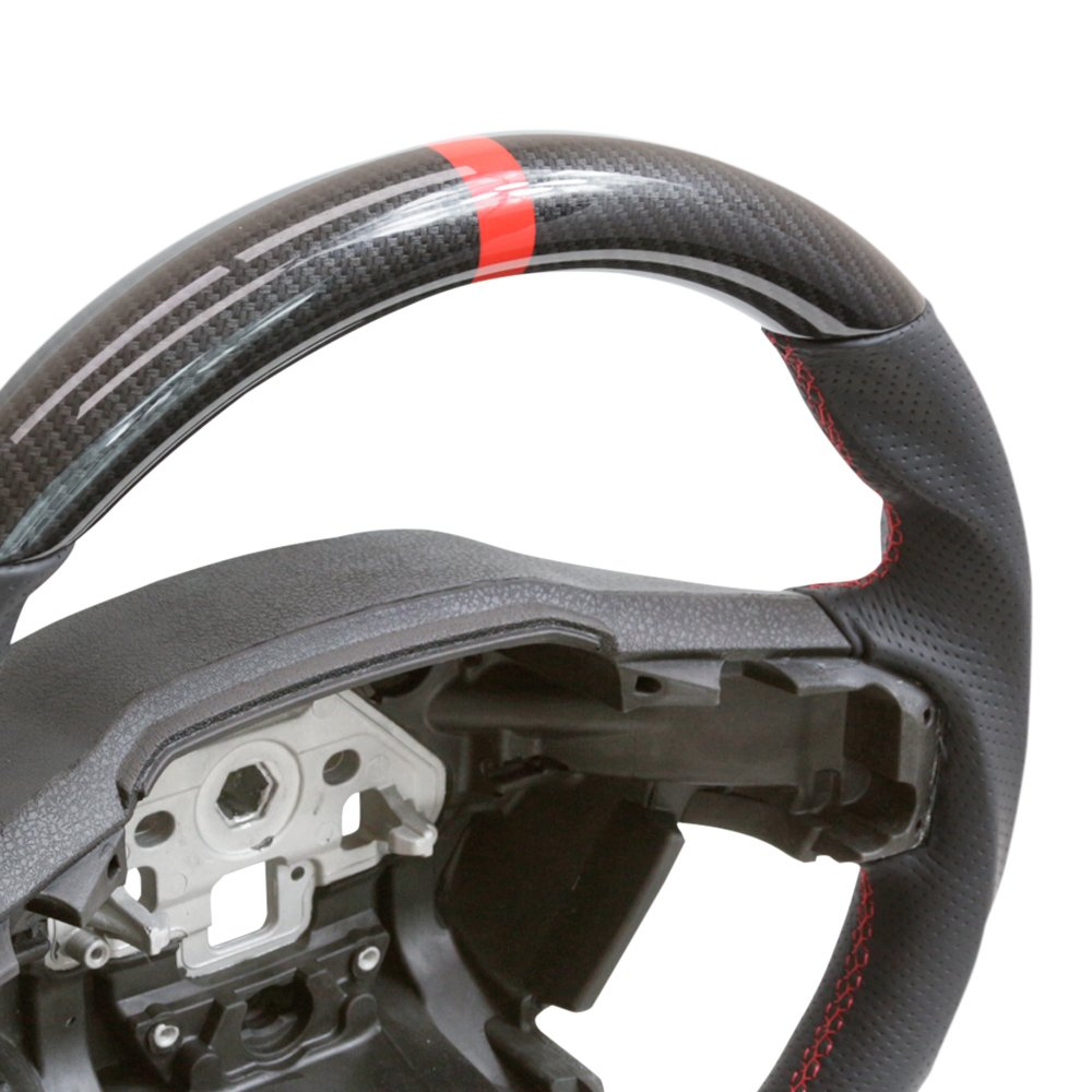 HANDKRAFTD 2015 For Ford F150 Steering Wheel Hydro Carbon//Leather//Red Stitch