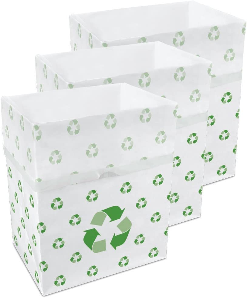 Clean Cubes 13 Gallon Disposable Sanitary Trash Cans & Recycling Bins, 3 Pack (Recycle)