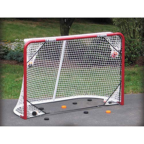 EZGoal 67109 Monster Steel Tube Heavy-Duty Official Regulation Folding Metal Hockey Goal Net, 6 x 4 - Feet, Red ()