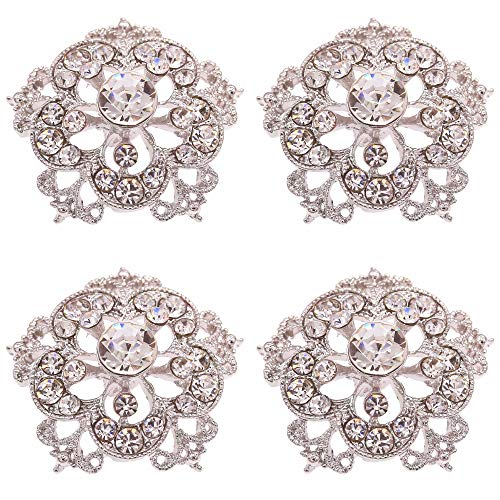 - SHINYTIME Crystal Rhinestone Buttons 4 Pieces Sew-On Silver Tone Flower Buttons for Wedding Bouquet Accessories and DIY Crafts 1.2X1.2 inches