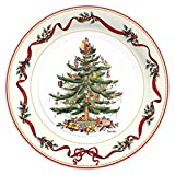 """C.R. Gibson 8 Count Decorative Paper Dinner Plates, Easy Clean Up, Measures 10.5"""" - Christmas Holly & Ribbon"""