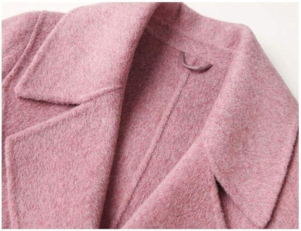 WDAYICappotto di Lana Double Face Slim Cappotto di Lana Lungo Cappotto di Lana Femminile Autunno e Inverno,Ragazze,Cappotti da Donna Rosa