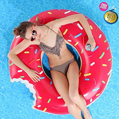 Price comparison product image Gigantic Donut Pool Float, Strawberry Frosted with Sprinkles