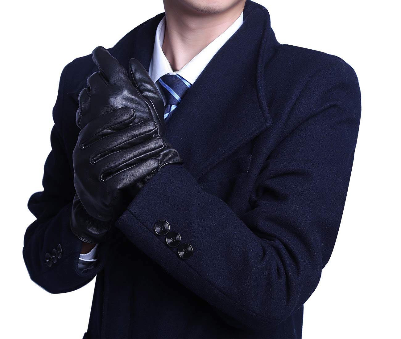 BOTINDO Touchscreen Leather Gloves, Lined Winter Driving Gloves for Men (M)