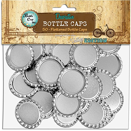 Bottle Cap 50-Pack Vintage Collection Flattened Bottle Caps, 1-Inch, Chrome