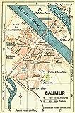 FRANCE: Saumur, 1932 vintage map