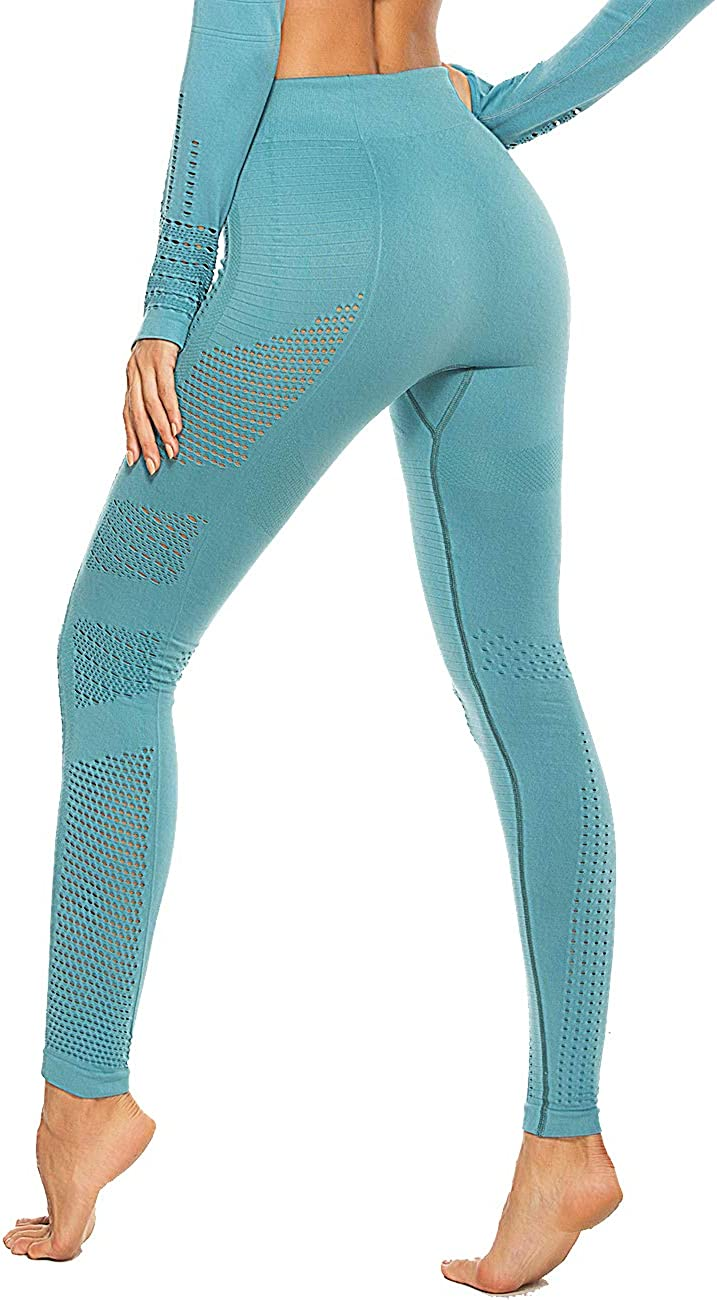 Womens Seamless High Waisted Gym Leggings Unique Design Power Stretch Yoga Pants Running Workout Leggings