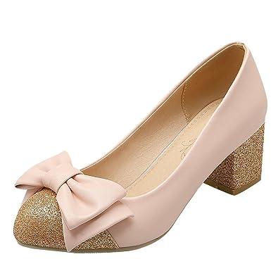 YE Damen Geschlossene Chunky Heel Pumps mit 5cm Absatz Blockabsatz Pumps Schuhe
