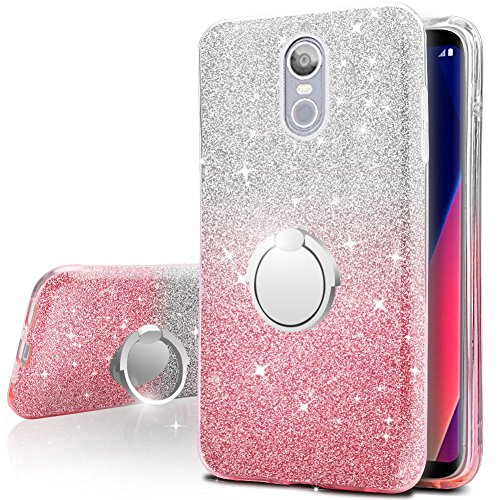 brand new 15f2e 3c746 LG Stylo 4 Case, Silverback Girls Bling Glitter Sparkle Case with 360  Rotating Ring Stand, Soft TPU Outer Cover + Hard PC Inner Shell for LG  Stylus 4 ...
