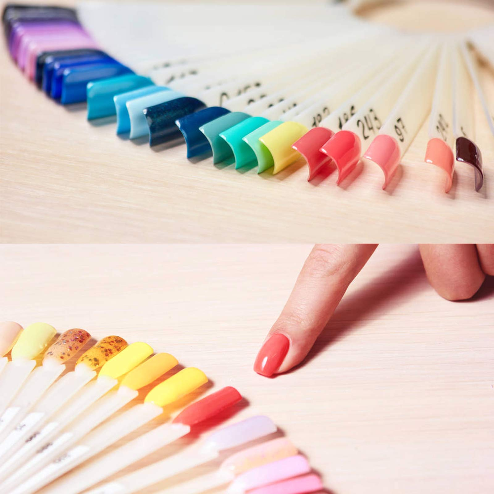 ZERHOK Nail Art Tips Fan 200 Pcs Nail Polish Display Board Swatches Sticks Salon Practice Tools Color Palette with Metal Split Ring Holder