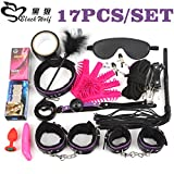 17Pcs /Set BDSM Bondage Set Plush Leather Fetish Sex Bondage Nipple Clamps Ball Gag Eyes Mask Sm Handcuffs Erotic Toy 17Pcs