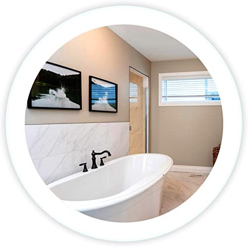 LED Side-Lighted Bathroom Vanity Mirror 32 Wide x 32 Tall – Commercial Grade – Round – Wall-Mounted