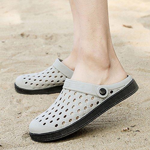 Pantoletten 44 Schuhe 36 Beach Damen Sommer Atmungsaktiv für Aqua Herren Strandschuhe Hausschuhe Schwarz Slippers Grau Sandalen Unisex Clogs Gaatpot q0att