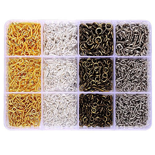 In A Box(960pcs) kit with 4 Color Gold Silver Platinum Antique Bronze Plated Screw Eye Pins Eye Pins 14mmx5.5mm & 12mmx5mm & 10mmx4mm for Clay Jewelry Resin Bead making (Bronze Plated Resin)