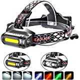 Rechargeable Headlamp Flashlight,COB and LED Headlamp,2500 Lumens Brightest Head Lamp Flashlight, Headlight USB Rechargeable,IPX4 HeadLamps, Best for Camping, Outdoors, Adults.Activities (black)