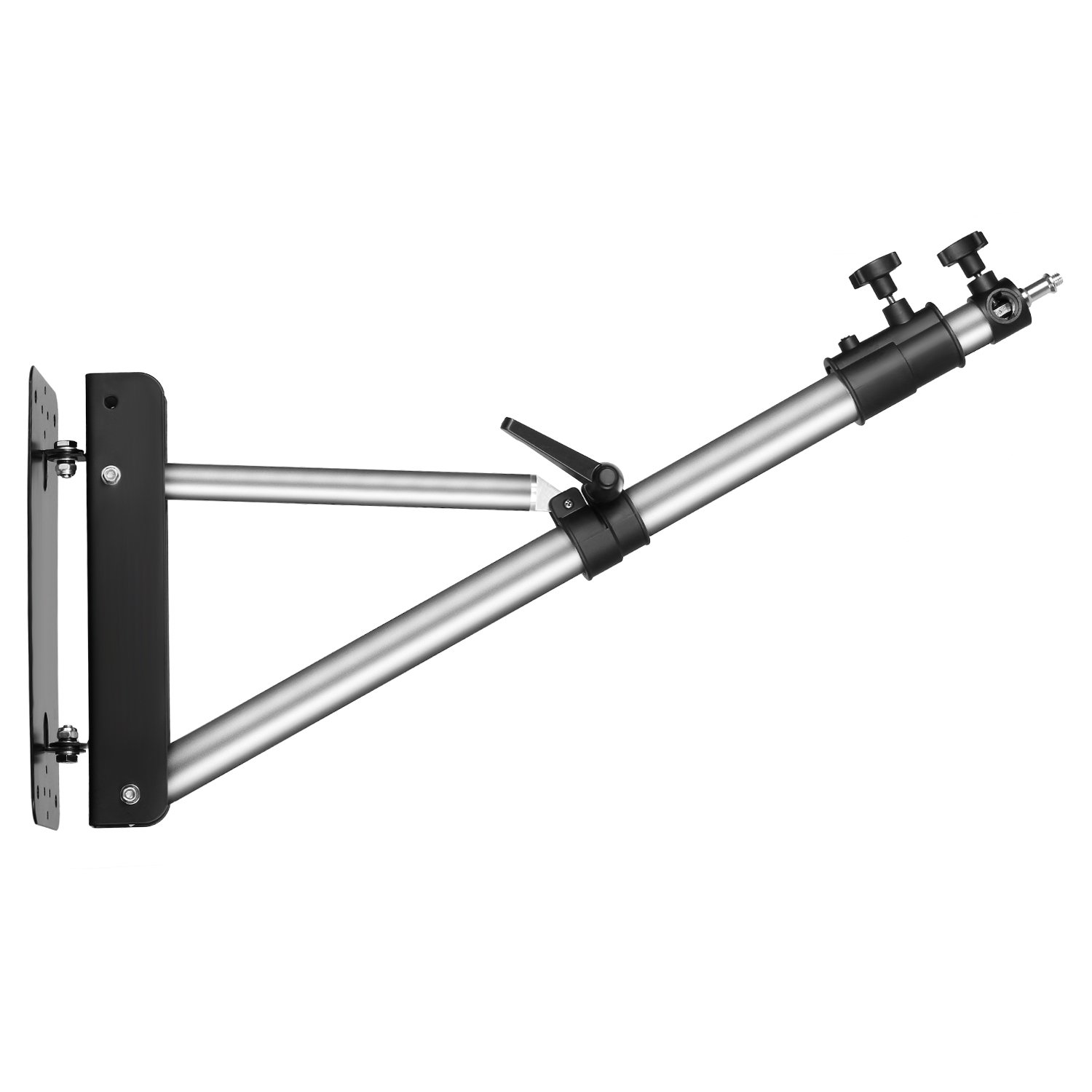 Neewer Wall Mounting Boom Arm with Triangle Base for Photography Studio Video Strobe Light Monolight Softbox Umbrella Reflector, 180 Degree Rotation, Max Length 66.5 inches/169centimeters (Silver)
