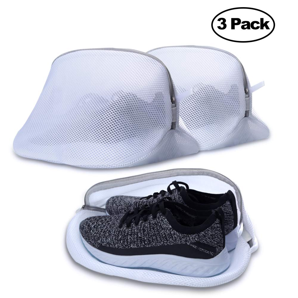 AJOXEL Set of 3 Mesh Laundry Bag For Trainers/Shoes, Net Washing Bags with Zips for Washing Machines Delicates Protect Clothes Reusable and Durable for Football boot, Sneakers, Storage and Travel