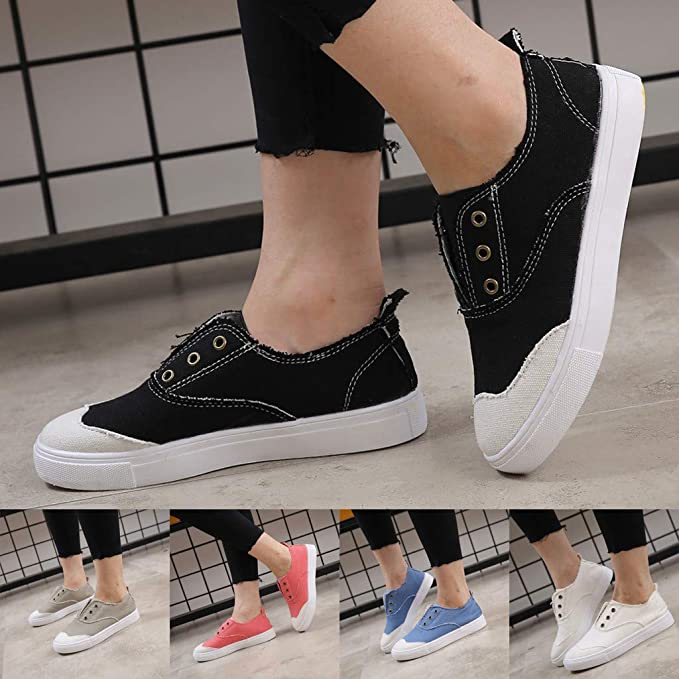 Dunacifa Fashion Women Canvas Shoes Casual Low Slip-on Flat Shoes Breath Freely Summer Single Shoes