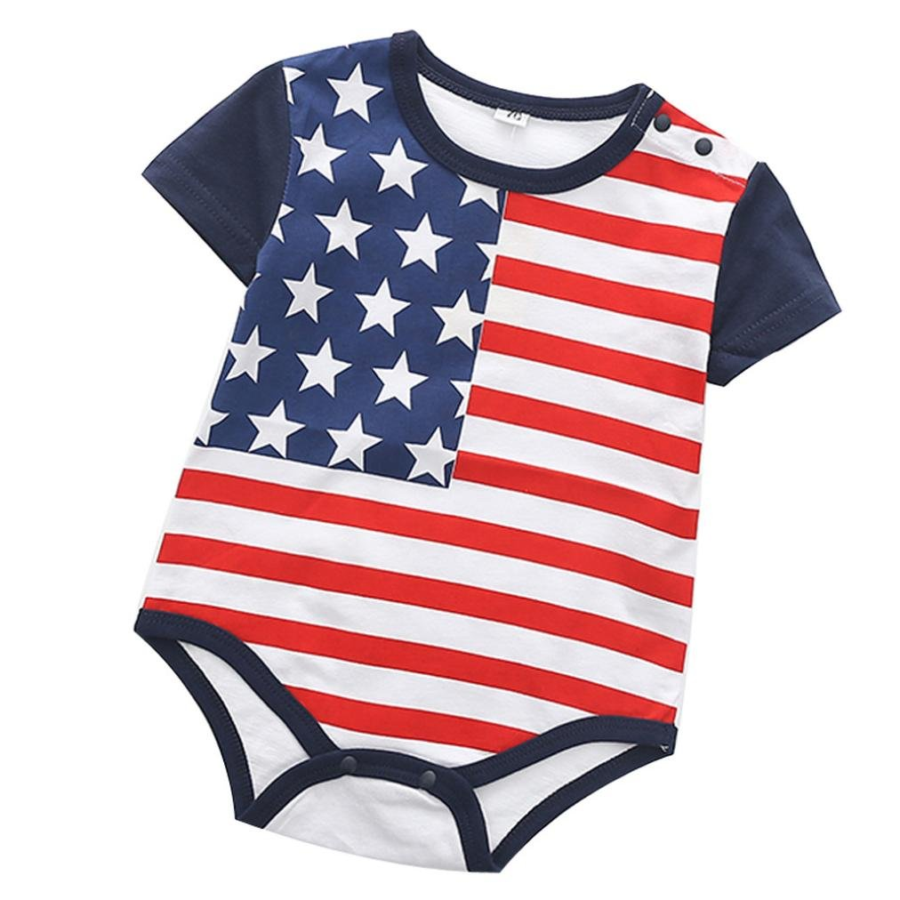 8de4ba22a038 Amazon.com  Lavany Baby Romper Infant Boys Girls Cute Stripe Cotton 4th of July  Jumpsuit Clothes  Clothing