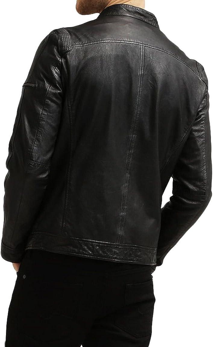 New Genuine Lambskin Leather Designer Jacket Motorcycle Biker Mens S M L XL T915