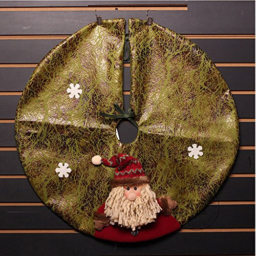 Victorian Christmas Tree Decorations - Christmas Tree Skirt,Y&M(TM)Xmas/Santa Decorations Small Mini Tree Skirts in Victorian,23-Inch Round,Cute Christmas Santa Claus with Gold Greeting